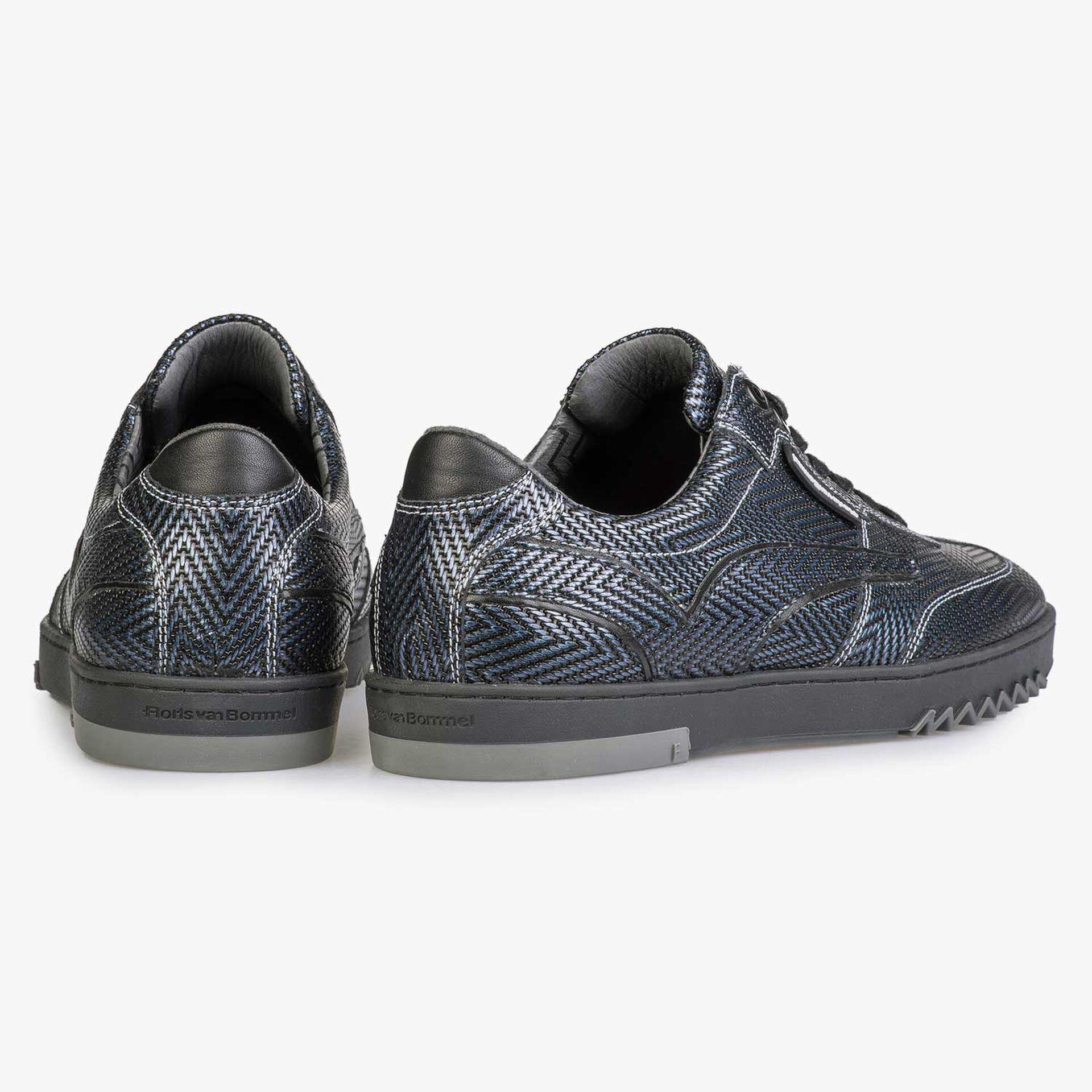 Blue Premium sneaker with herringbone pattern