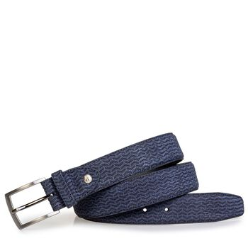 Belt nubuck leather blue