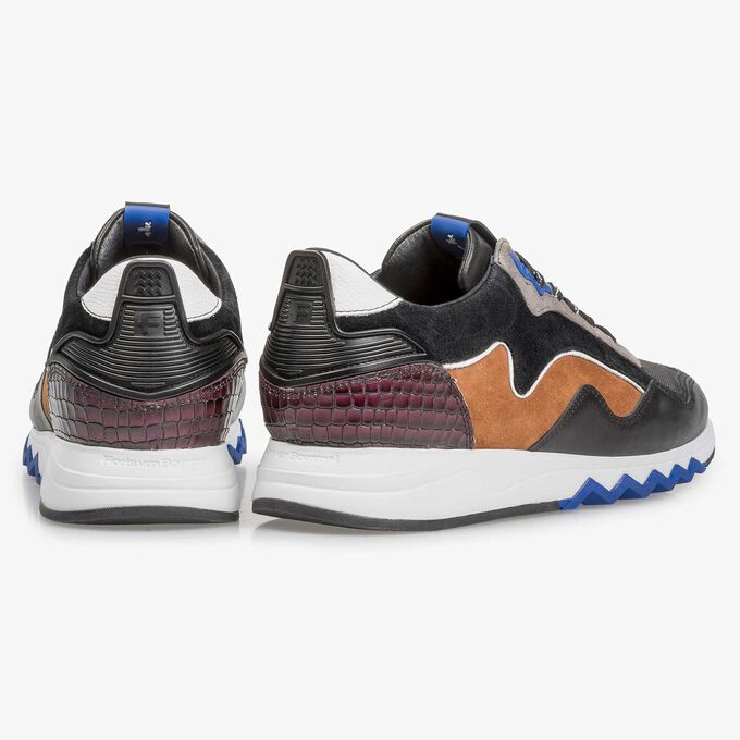 Multi-coloured suede leather sneaker