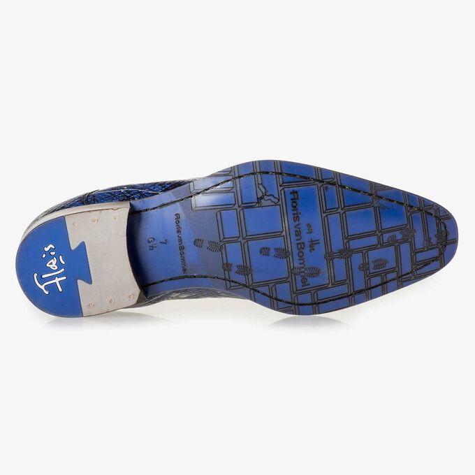 Blauwe kalfsleren veterschoen met print