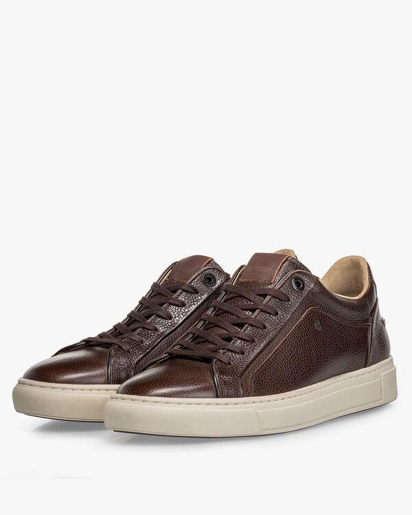Sneaker geprint leer bruin