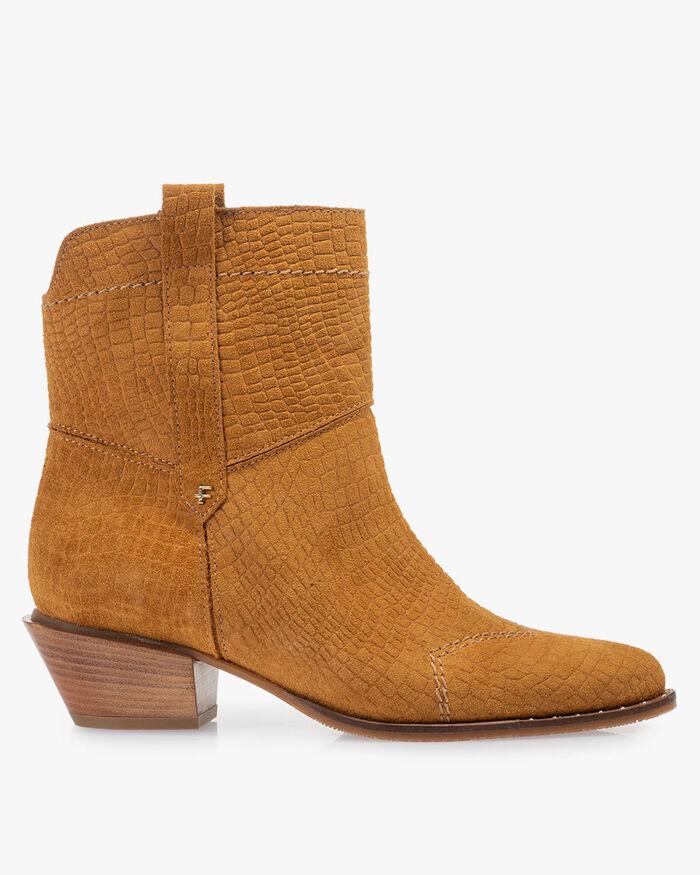 Boot geprint suède cognac
