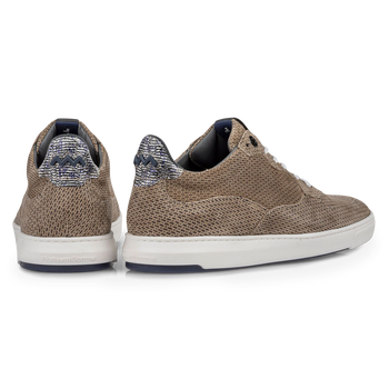 Sneaker printed suede leather sand-coloured
