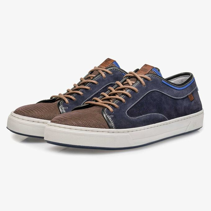 Suède sneaker met lizardprint donkerblauw/grijs