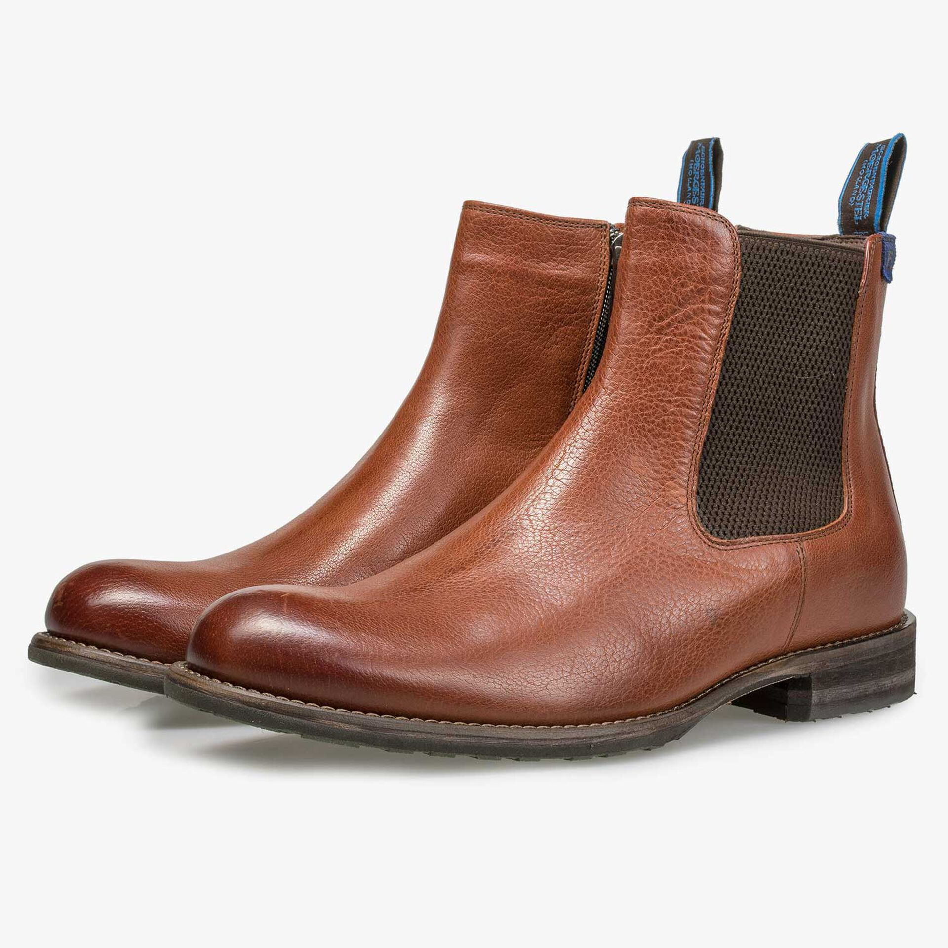 Lined cognac-coloured leather Chelsea boot
