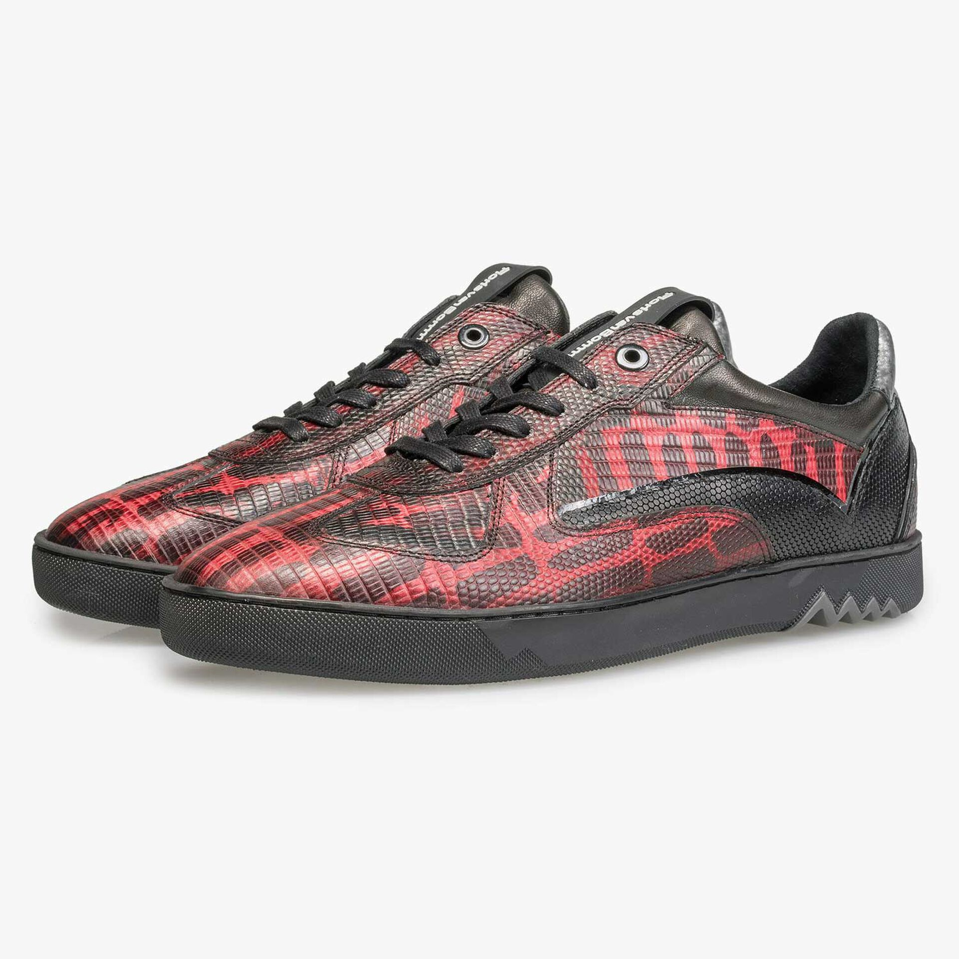 Red calf's leather sneaker with lizard print