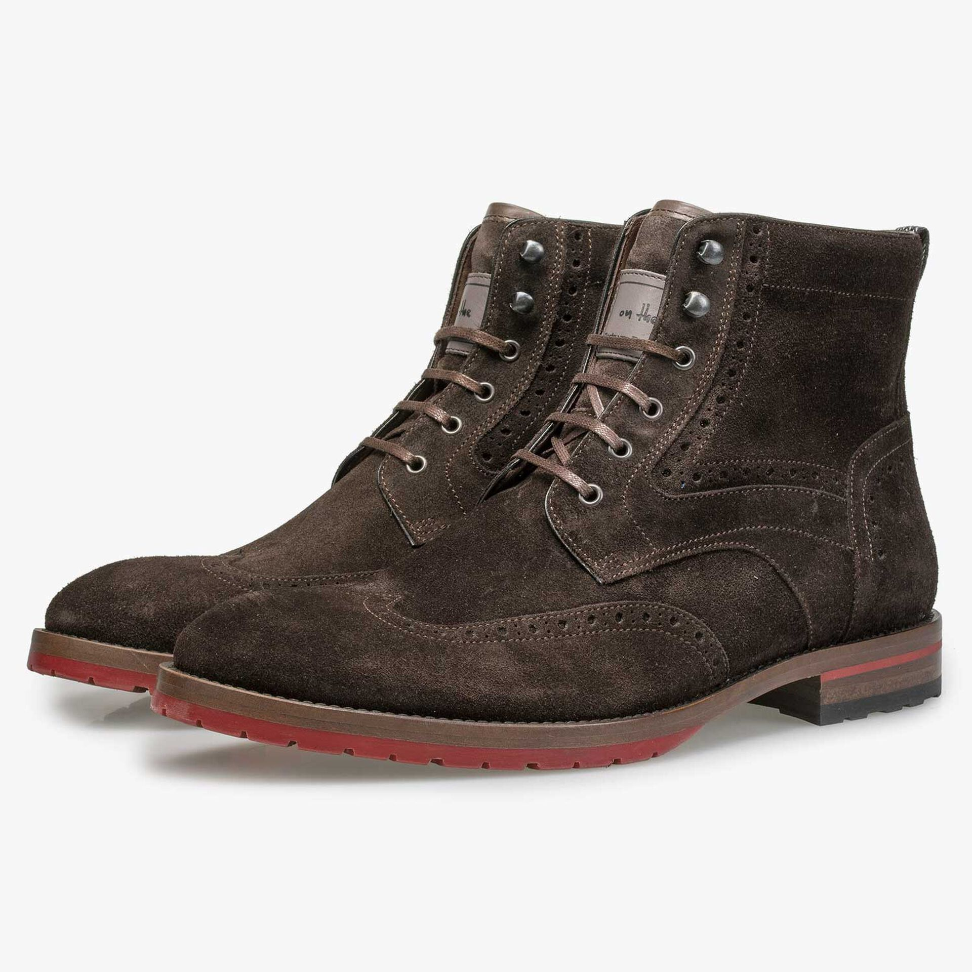 Brown suede leather brogue lace boot