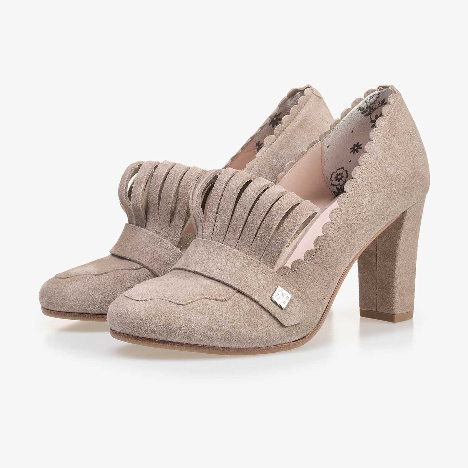 Taupe-coloured calf's suede leather pumps