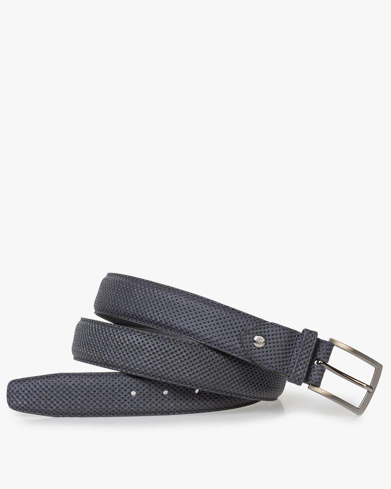 Dark blue suede leather belt with print