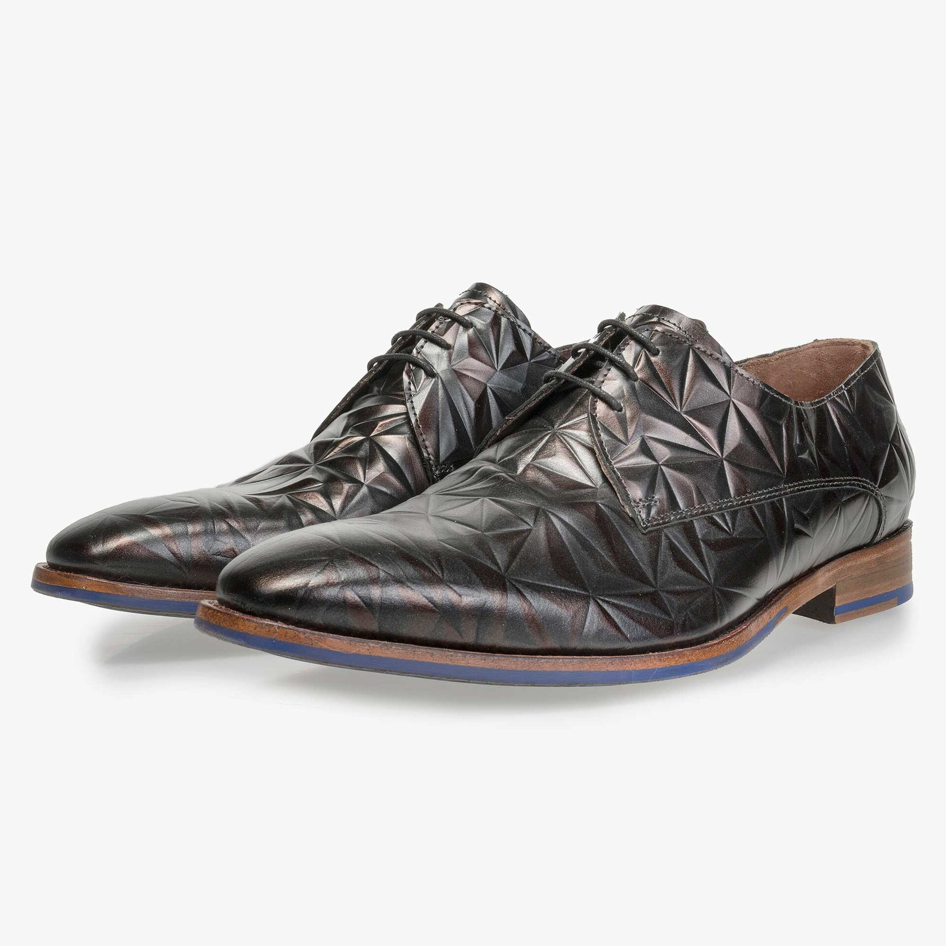 Floris van Bommel men's dark brown leather lace shoe finished with a black 3D print