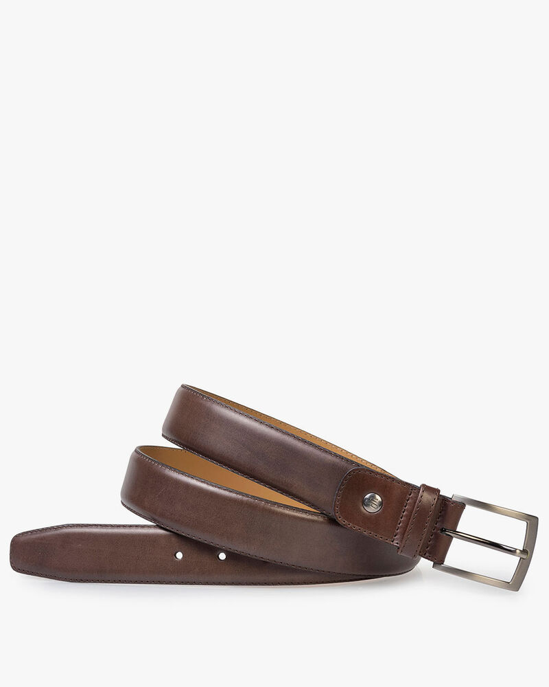 Dark brown calf leather belt