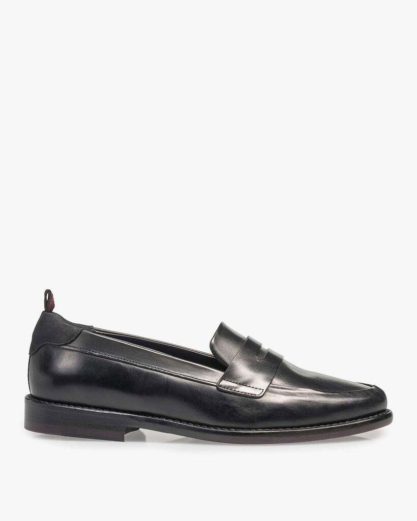 Black calf leather loafer