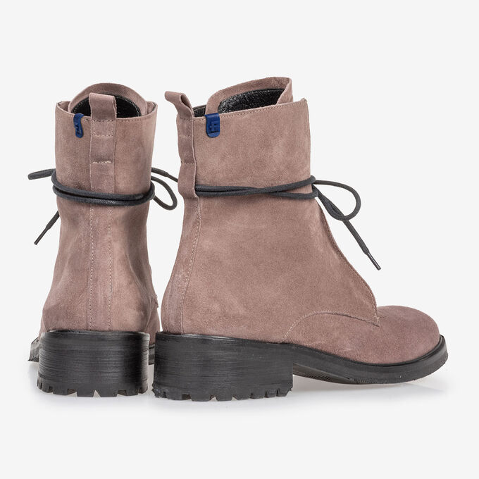 Lace boot suede leather dark pink