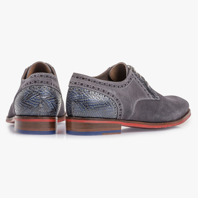 Dark grey suede leather lace shoe with print