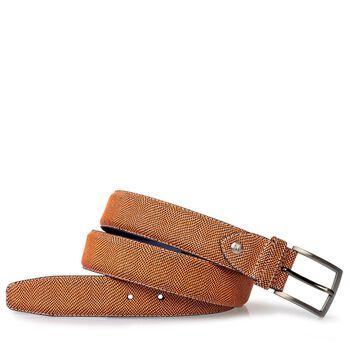 Belt printed suede leather orange