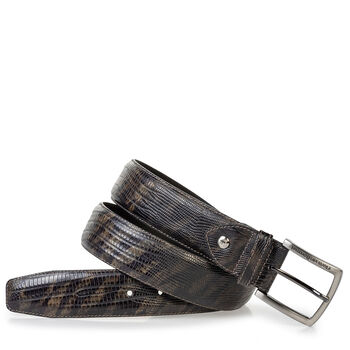 Leather belt lizard print green