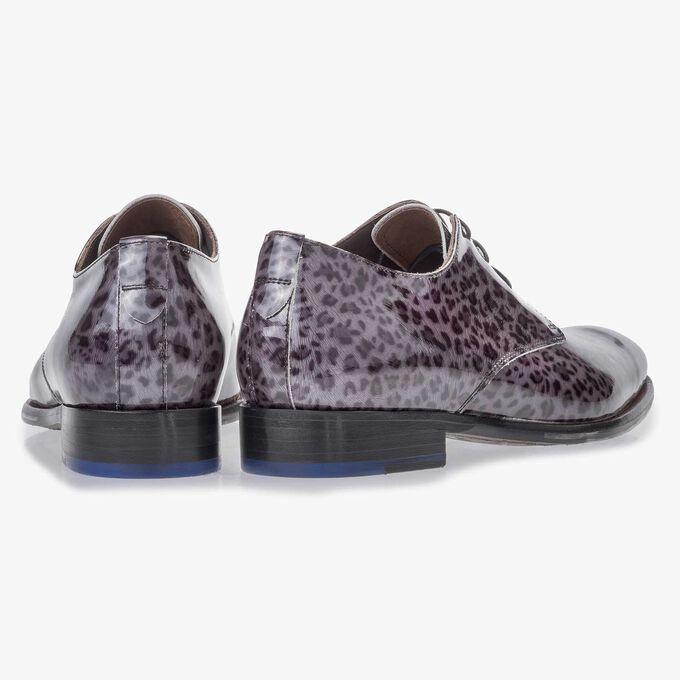 Premium darkgrey, patent leather lace shoe