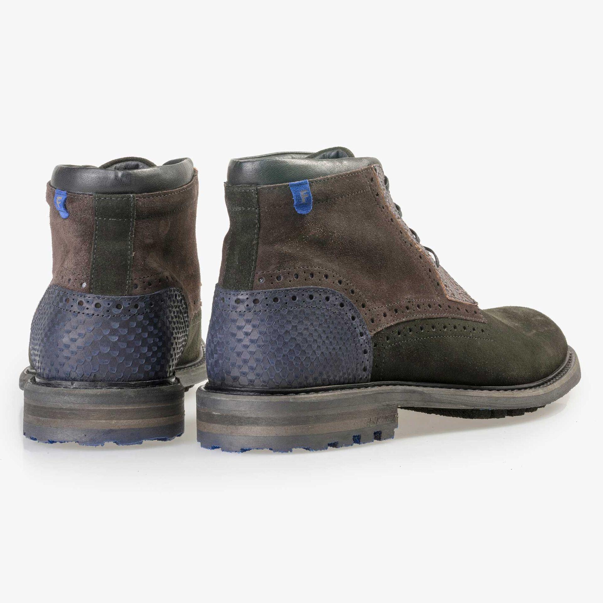 Floris van Bommel men's dark green suede leather lace boot