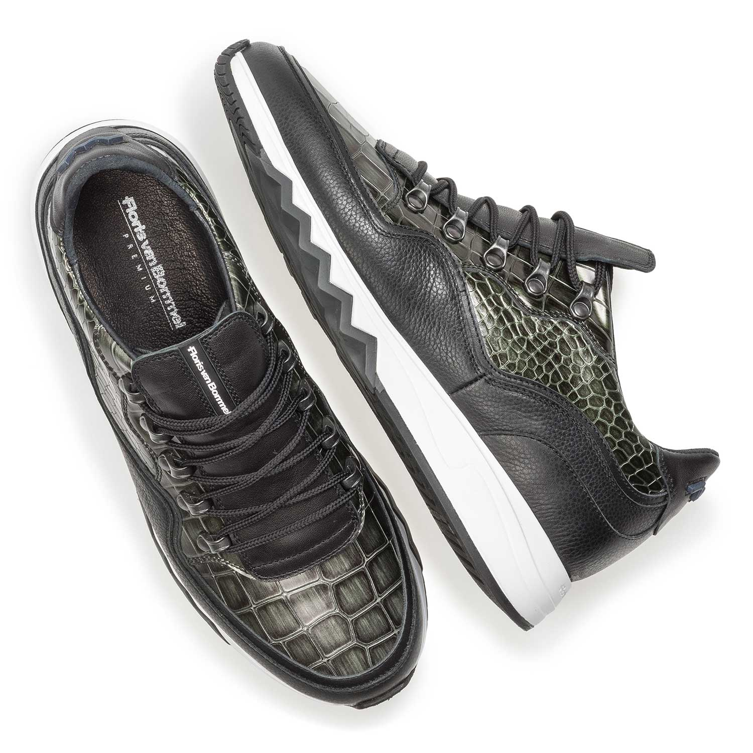 16394/02 - Premium green printed metallic leather sneaker