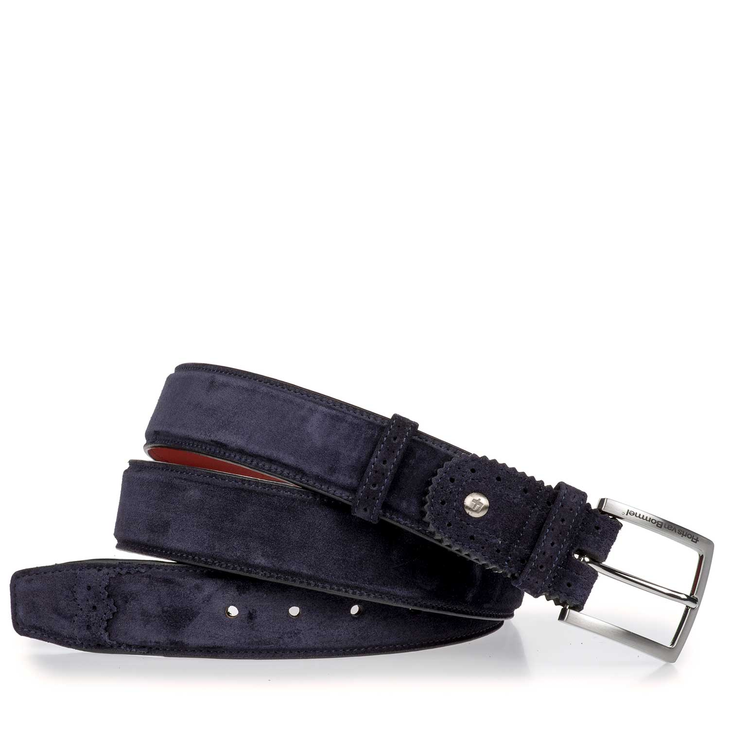 75171/16 - Blue suede leather belt with brogue perforations