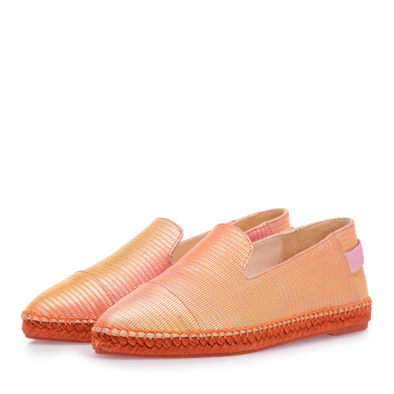85420/08 - Orange leather espadrilles with metallic print