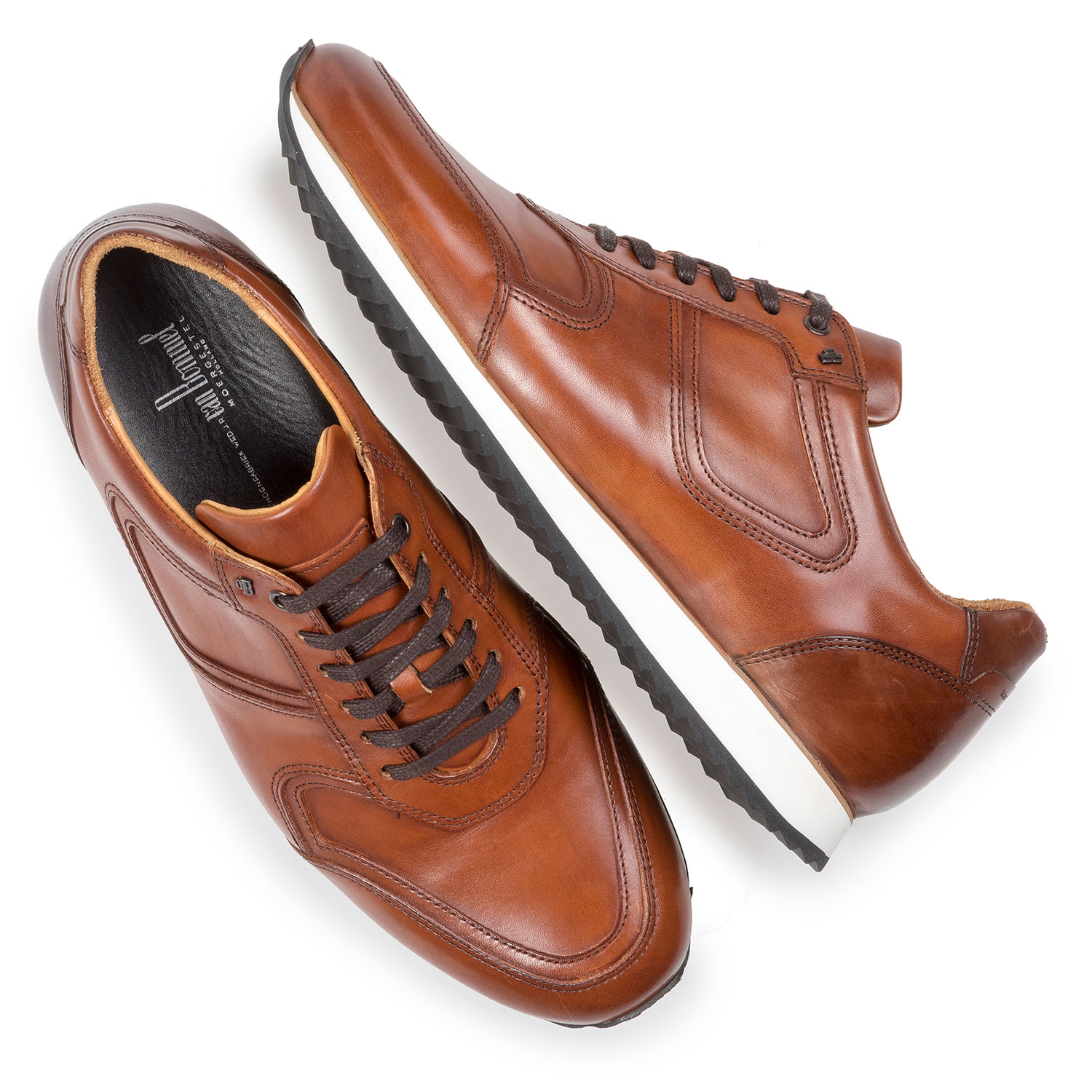 16224/23 - Dark cognac-coloured calf leather lace shoe