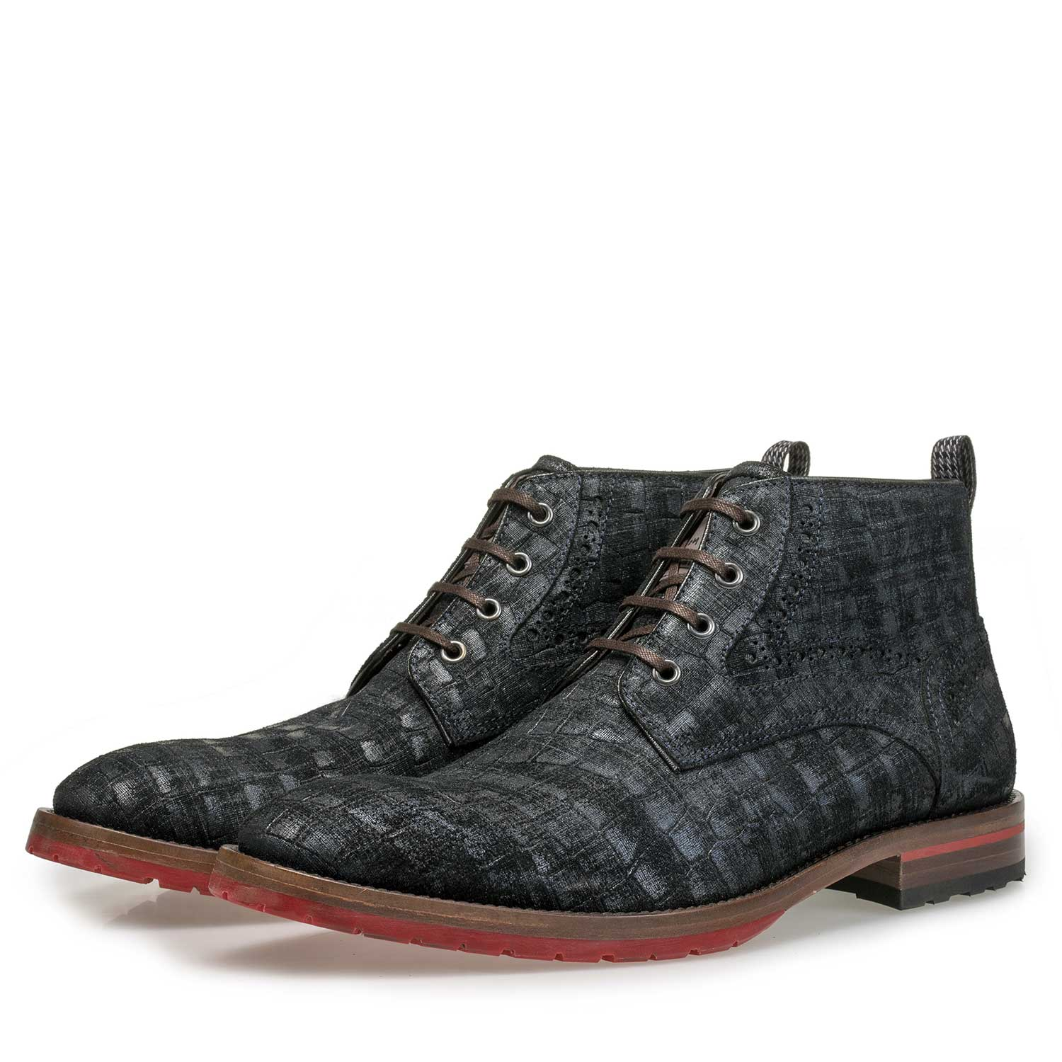 10317/08 - Blue suede leather lace boot with a check pattern
