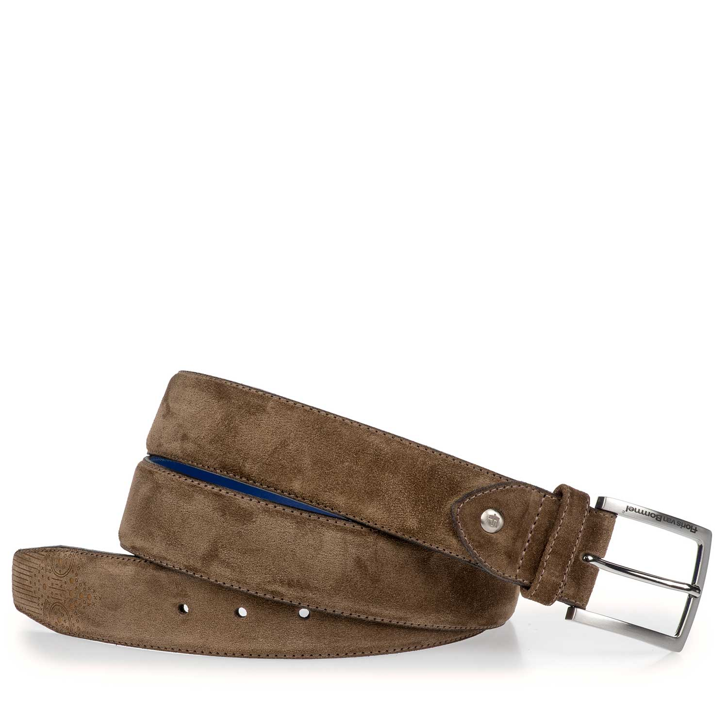 75185/04 - Taupe-coloured suede leather belt with brogue details