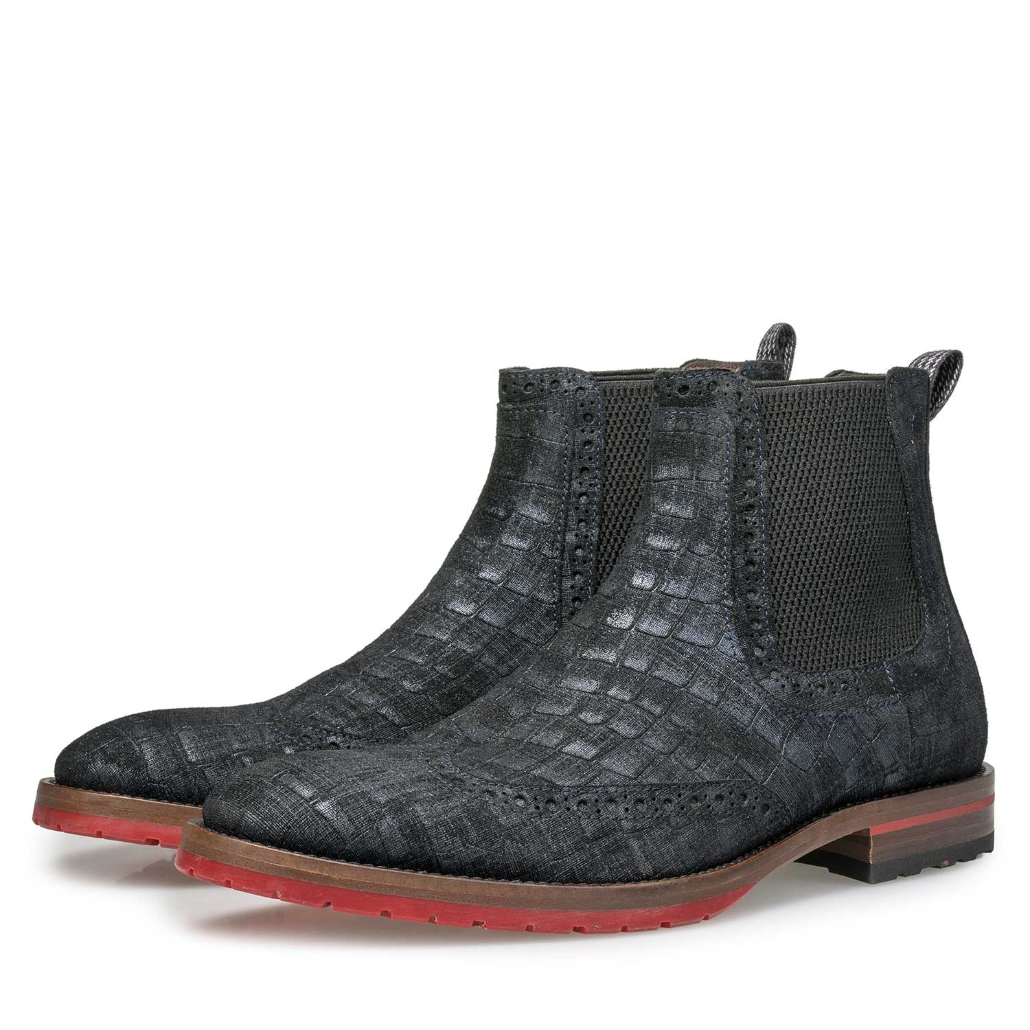 10329/08 - Blue suede Chelsea boot with check pattern