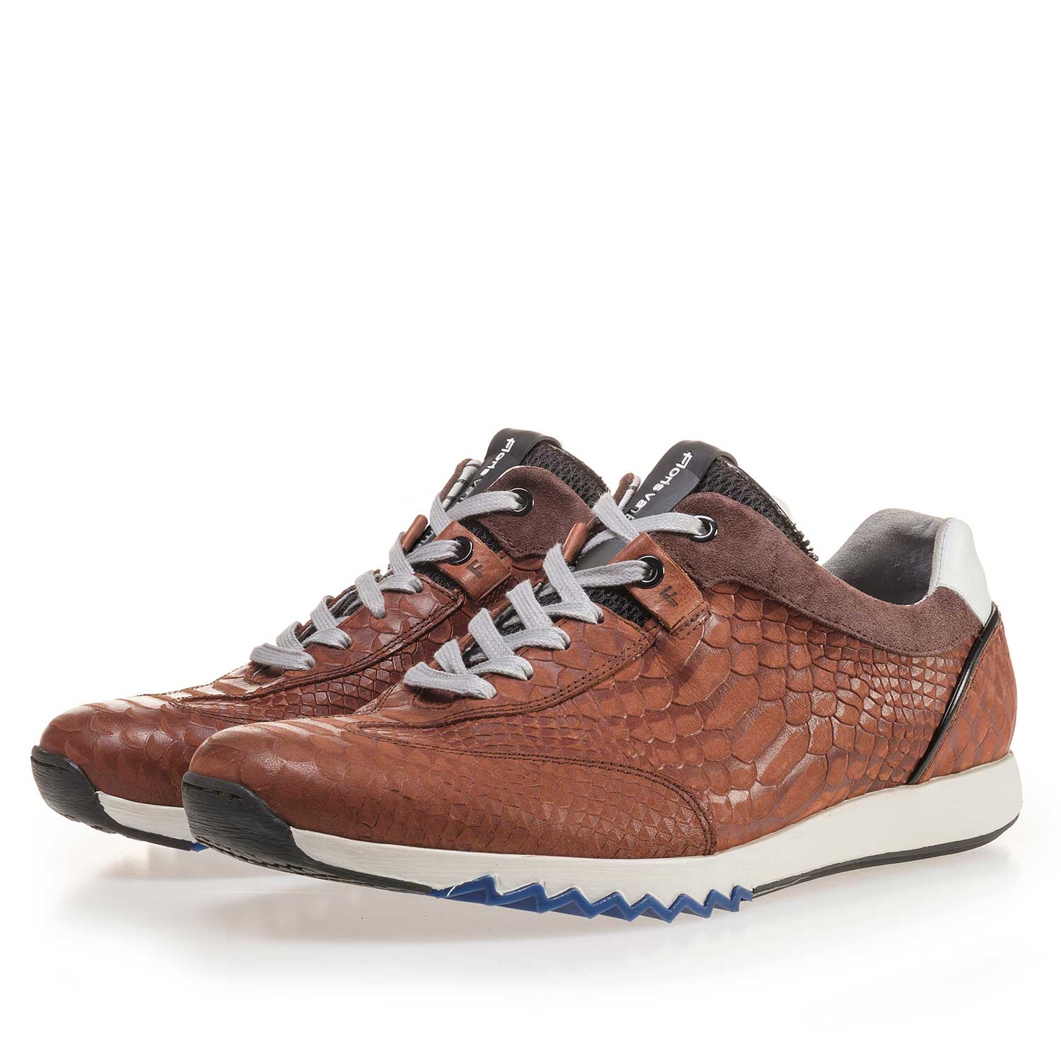 16219/03 - Cognac-coloured leather sneaker with a snake print