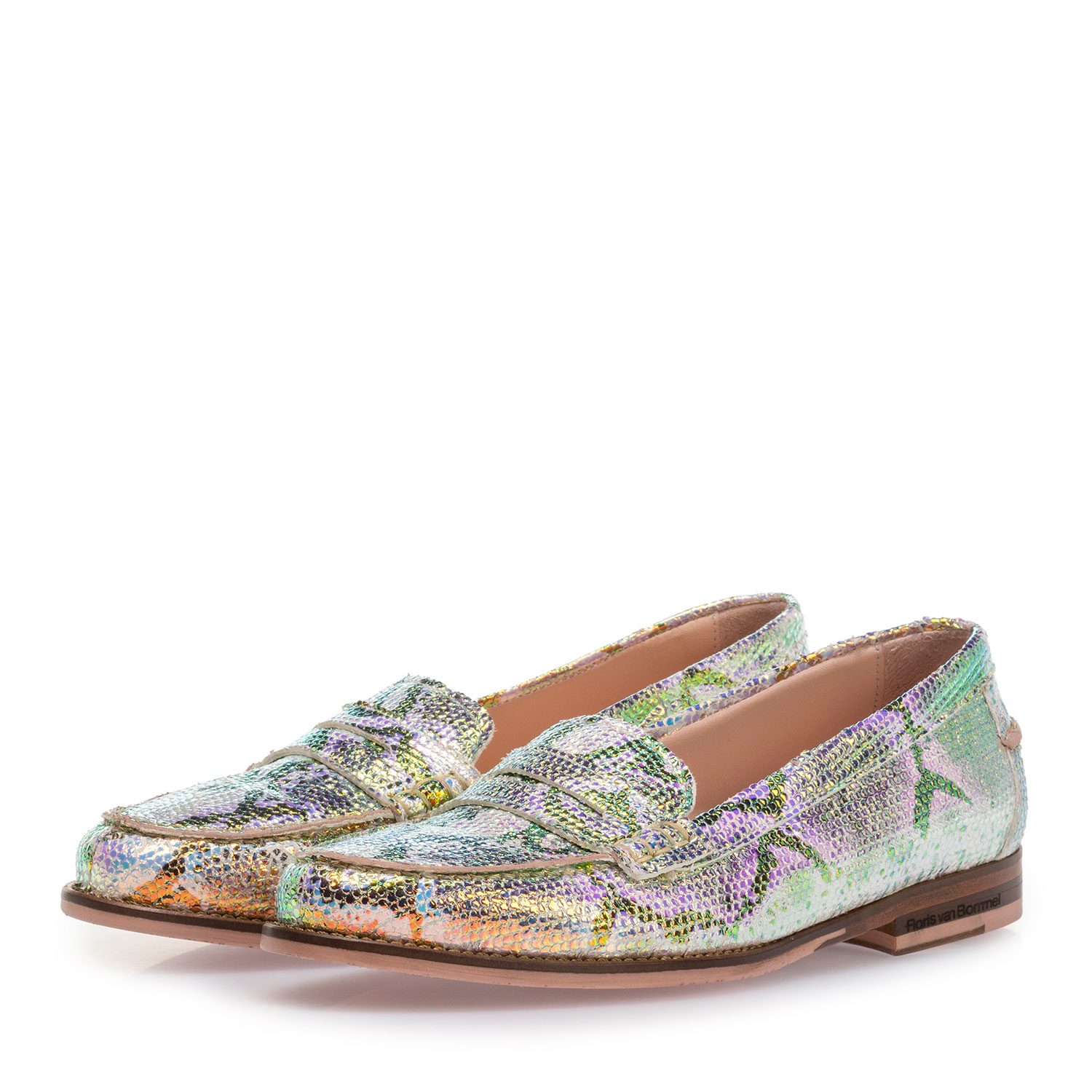 85409/15 - Leather loafer with green/gold metallic print