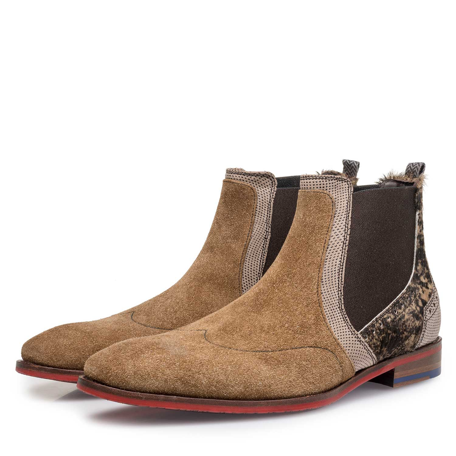10455/05 - Brown suede leather Chelsea boot with pony hair