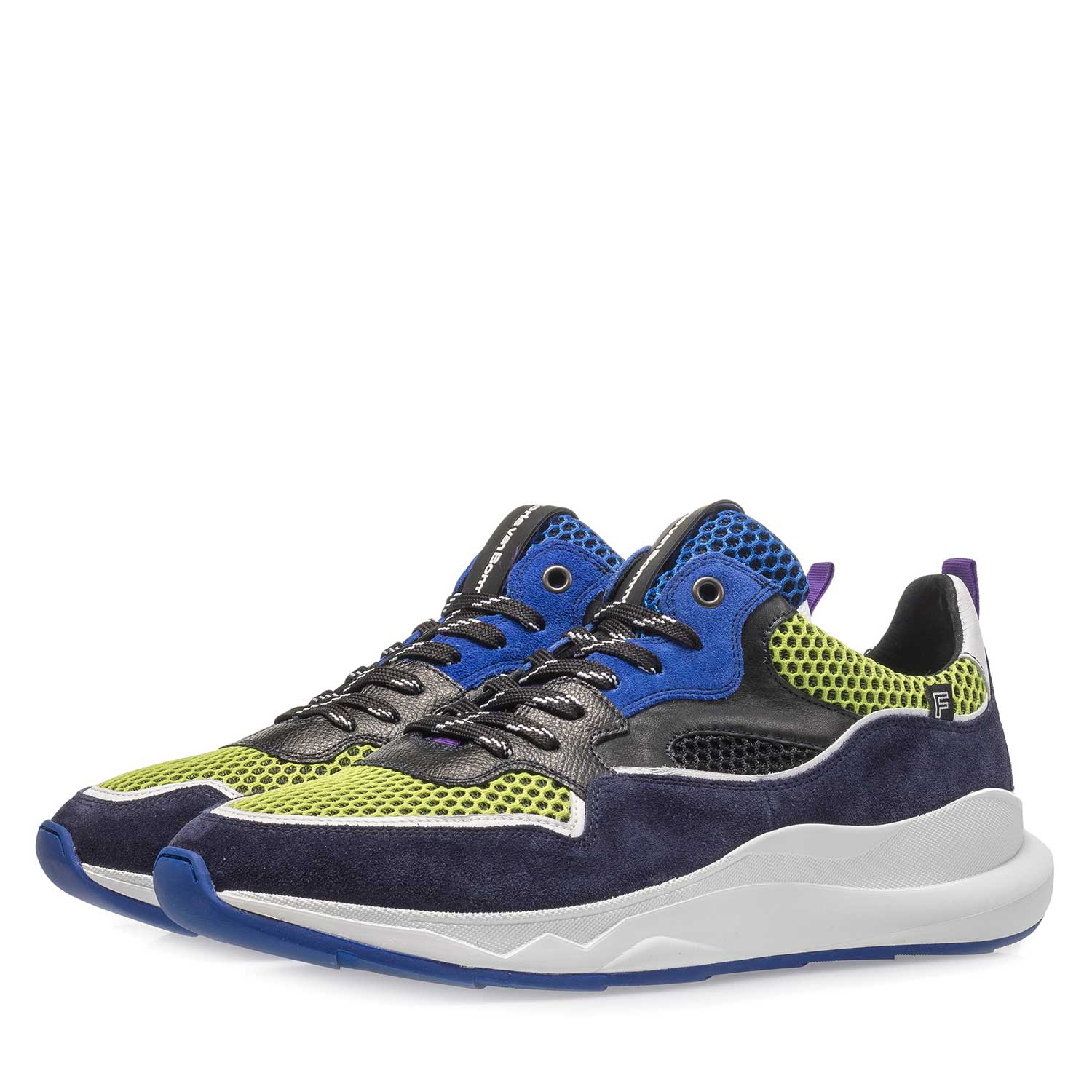 16269/06 - Dark blue and multi-coloured suede leather sneaker