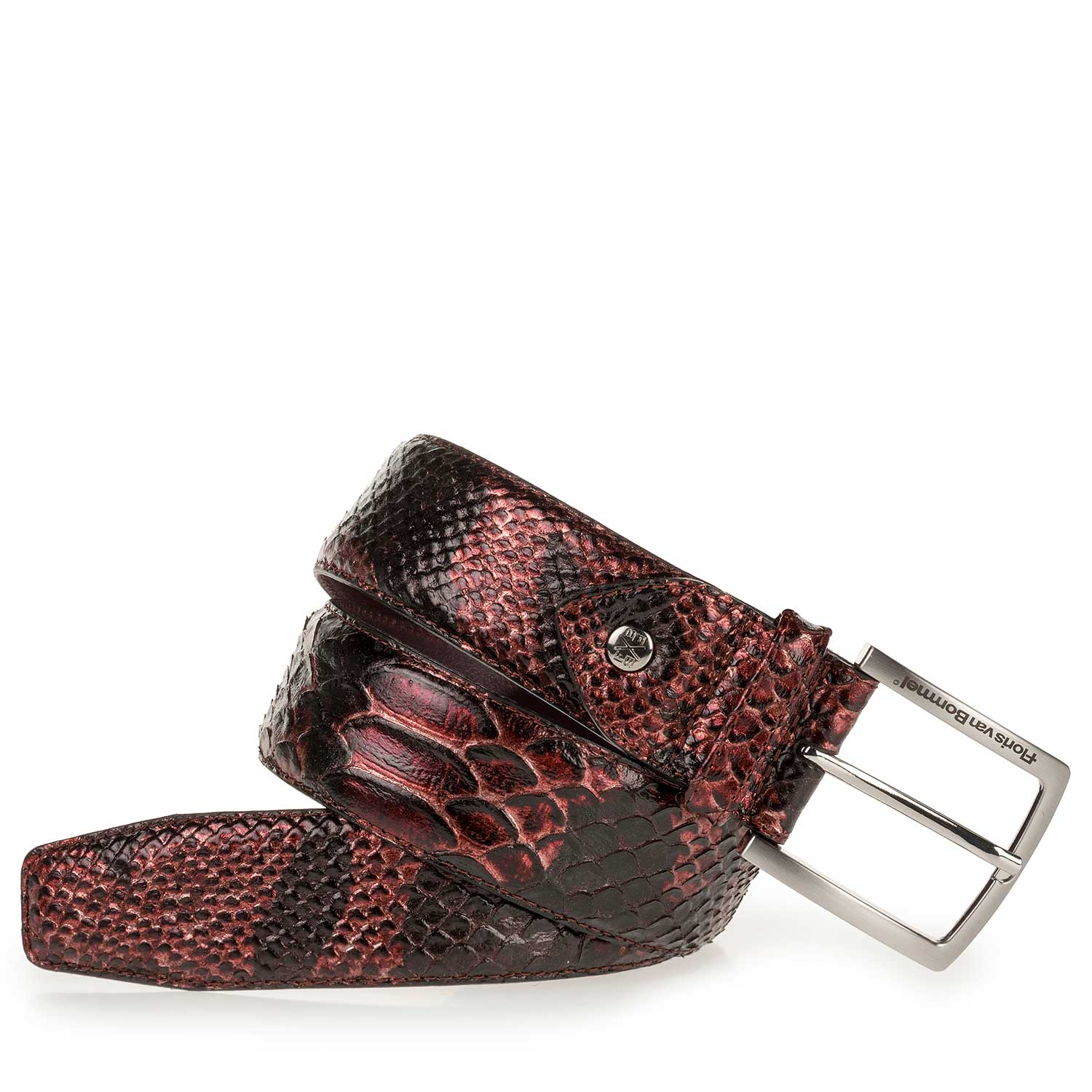 75189/36 - Red-brown leather belt with snake print