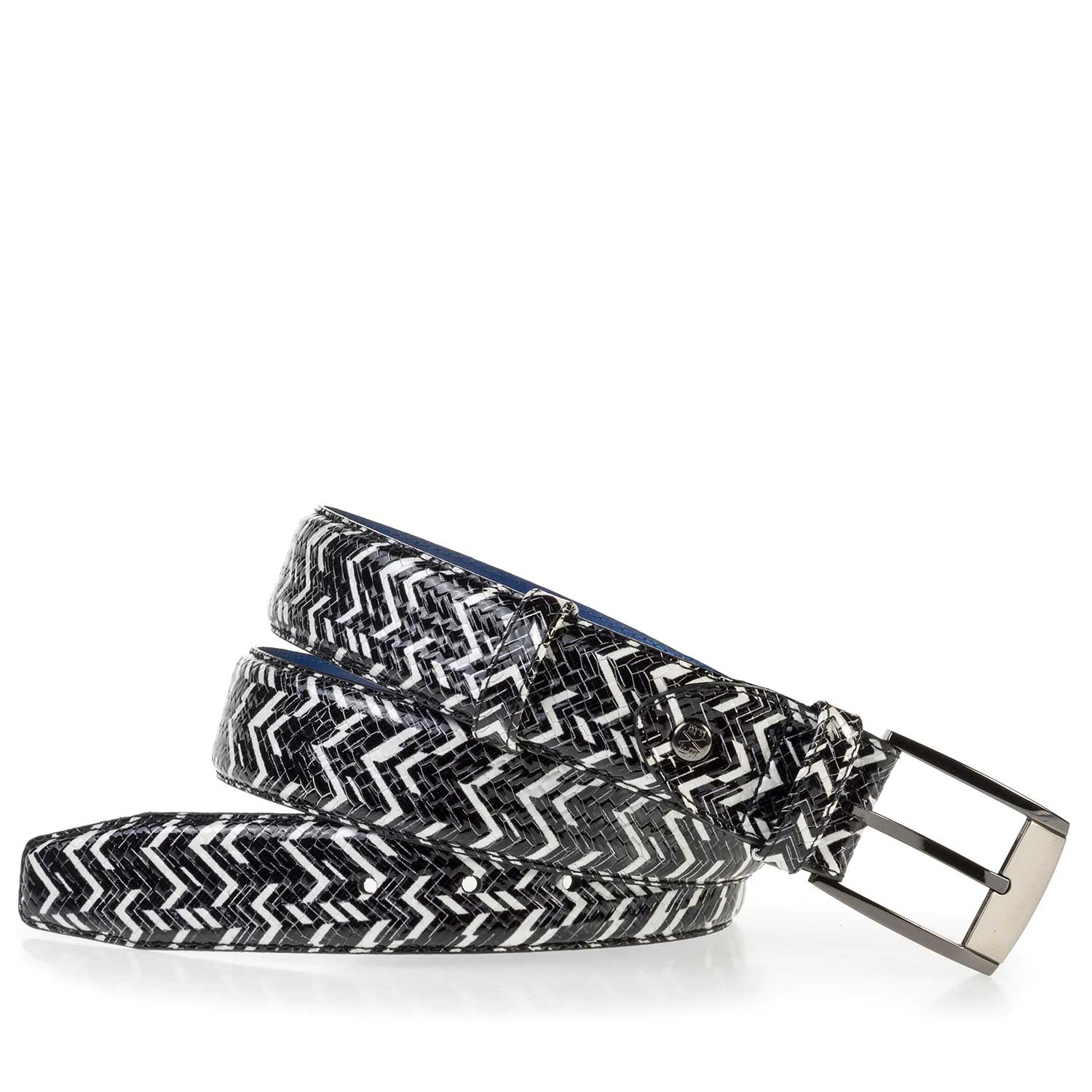 75180/01 - Patterned black-white patent leather belt