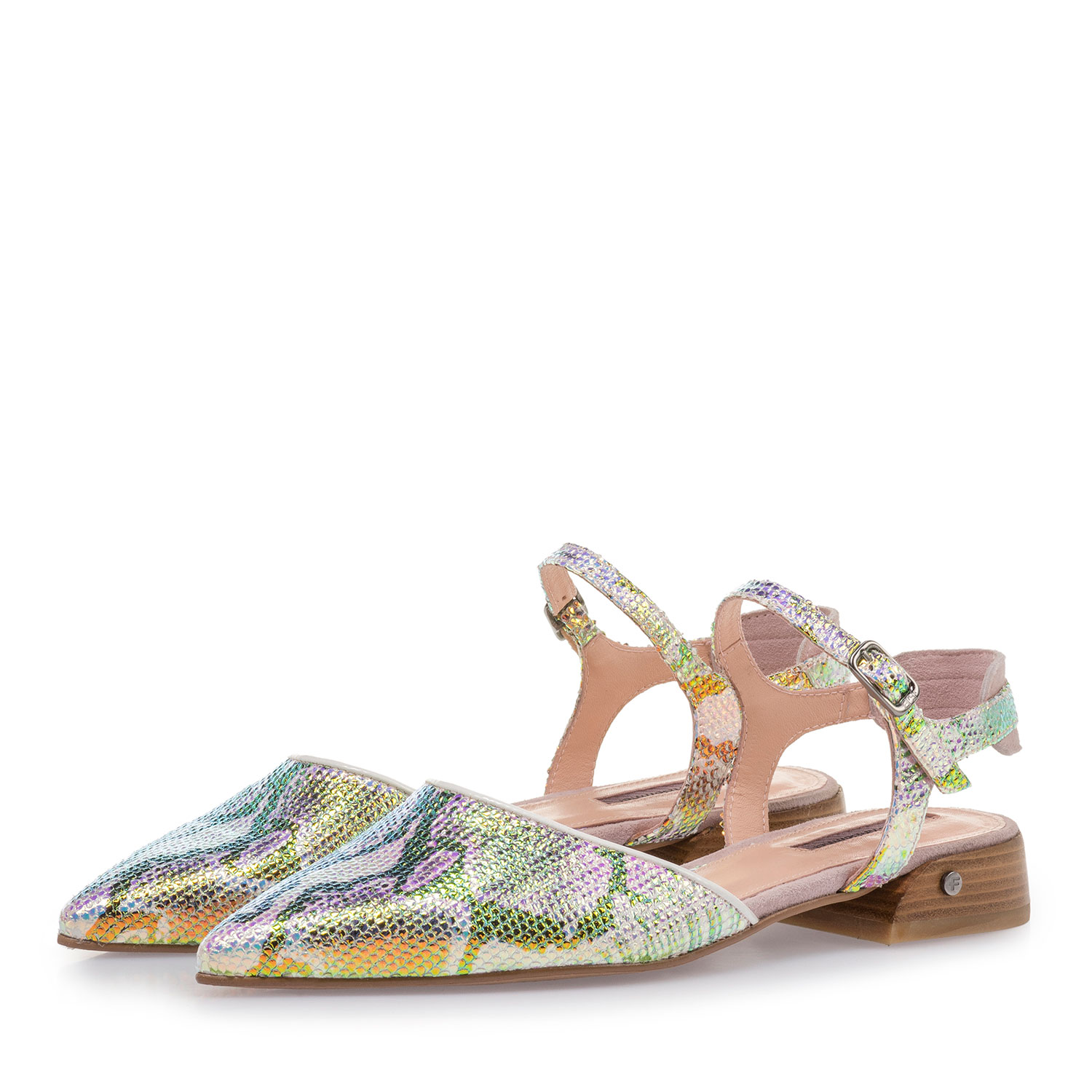 85960/01 - Leather sandals with green/gold metallic print