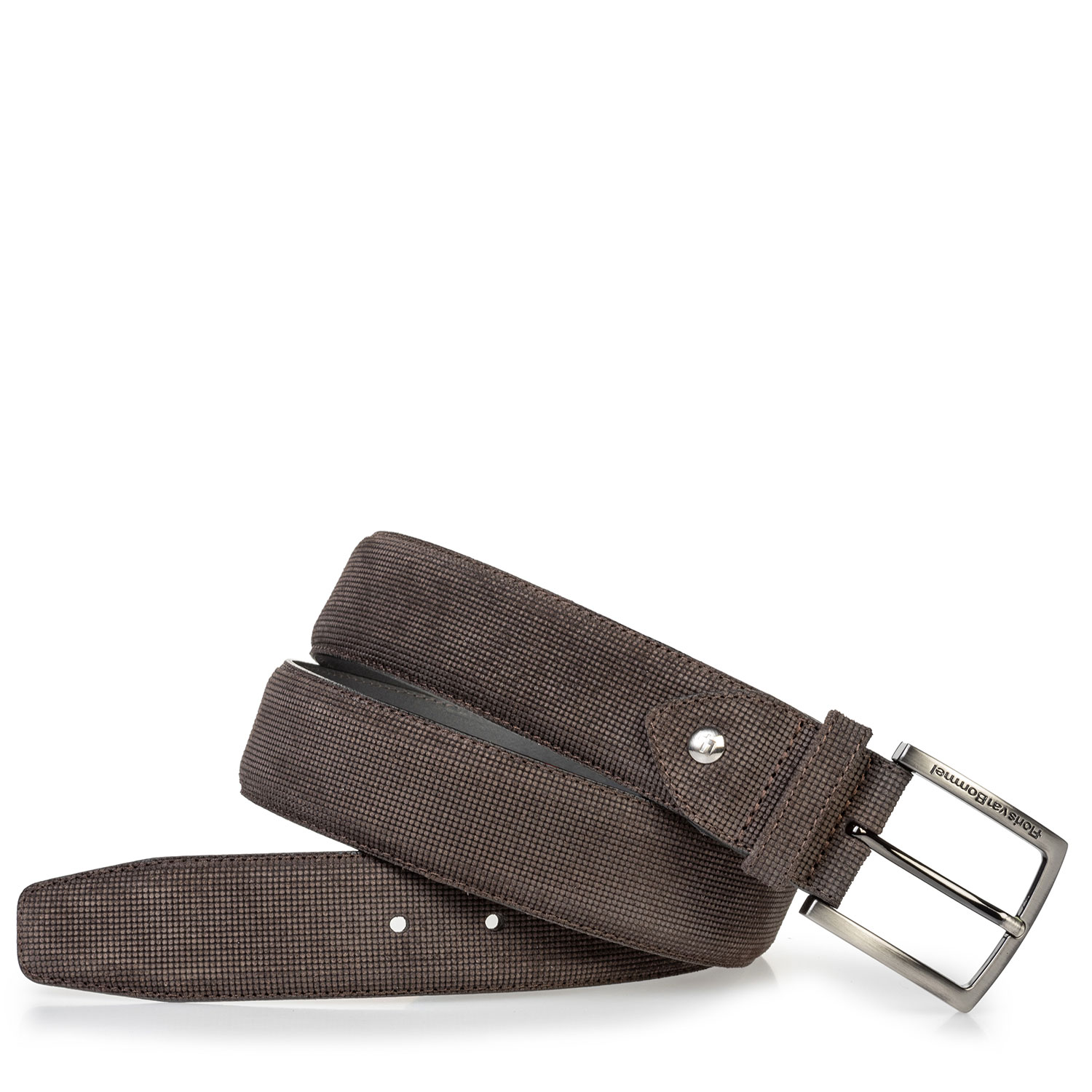 75204/00 - Suede leather belt brown with print