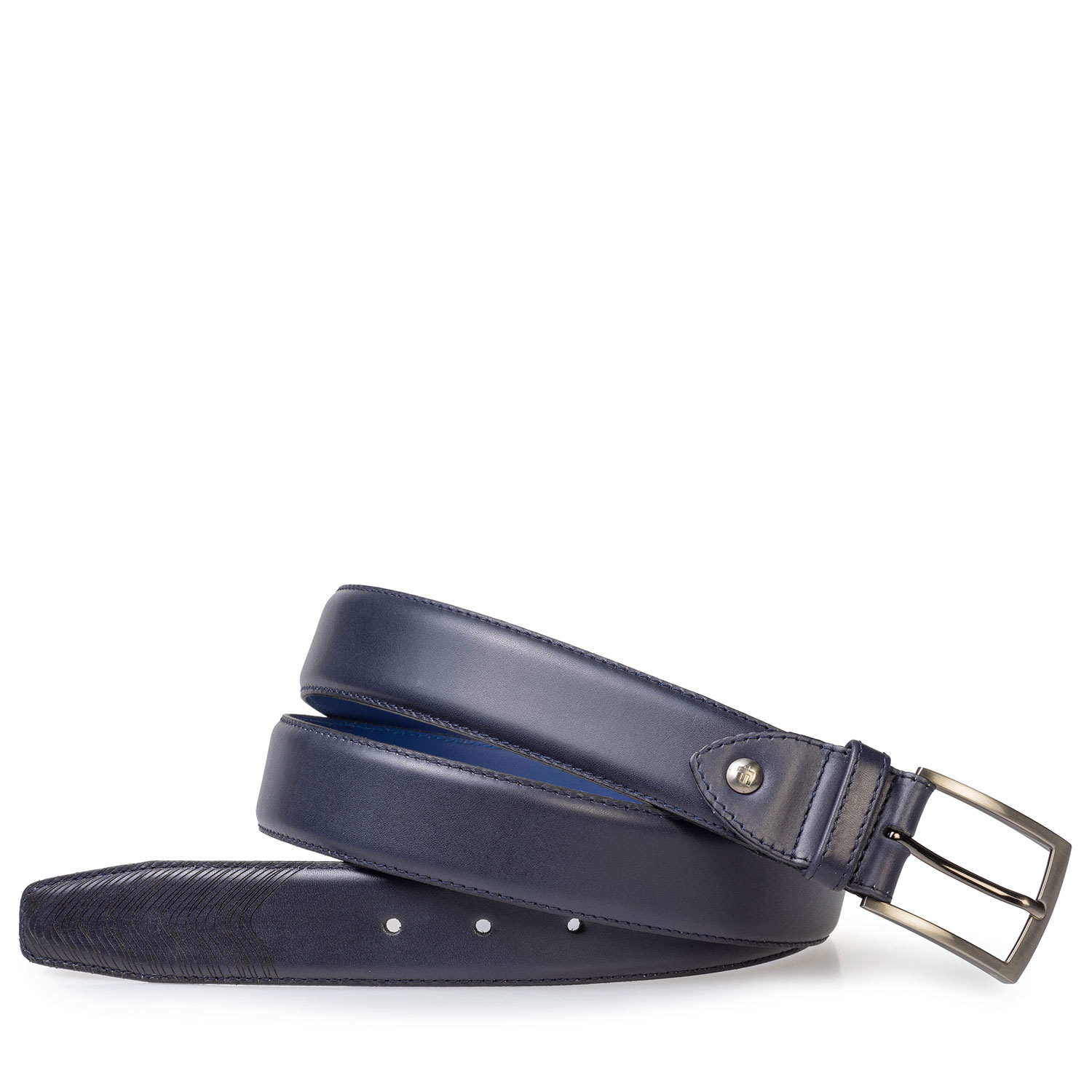 75216/01 - Dark blue calf leather belt