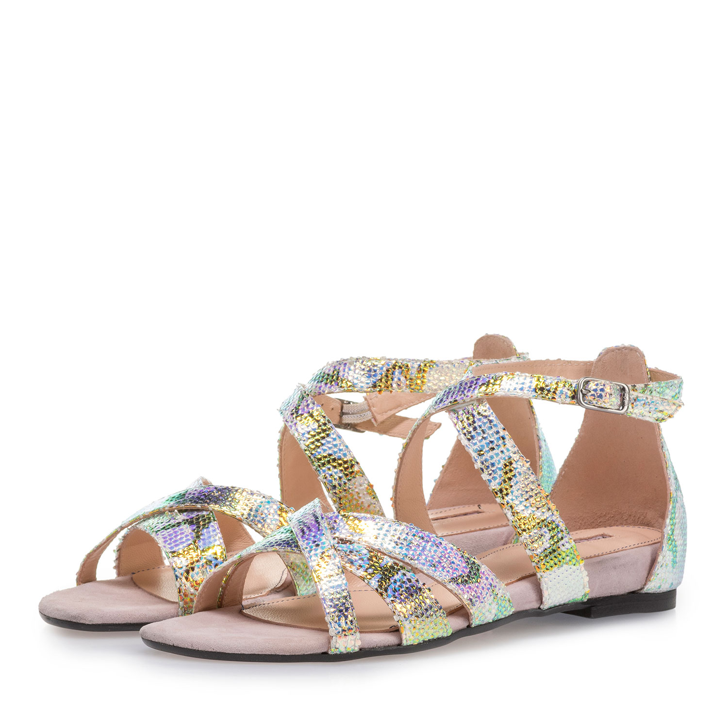 85956/00 - Leather sandals with green/gold metallic print