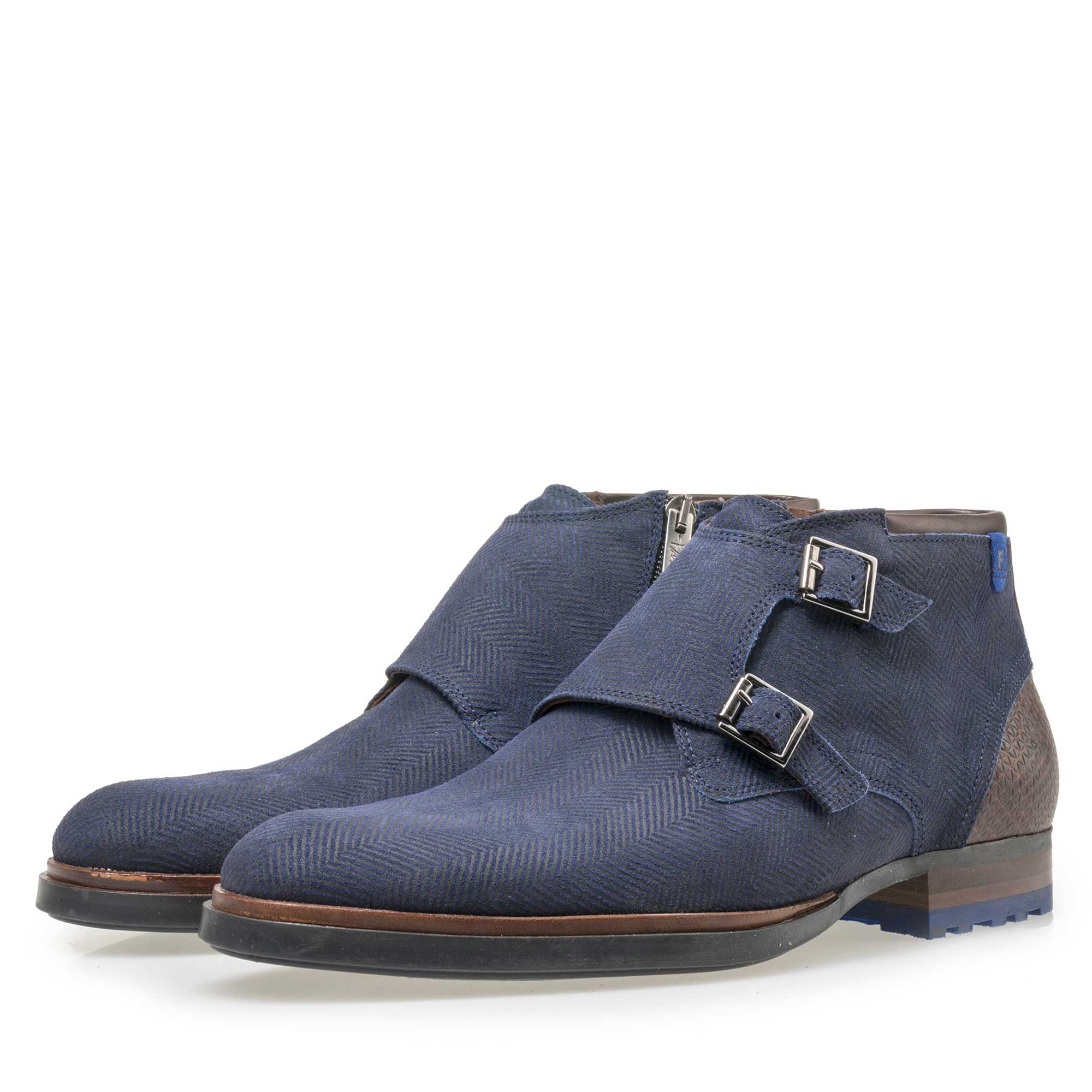 10982/02 - Floris van Bommel men's blue suede leather zip boot
