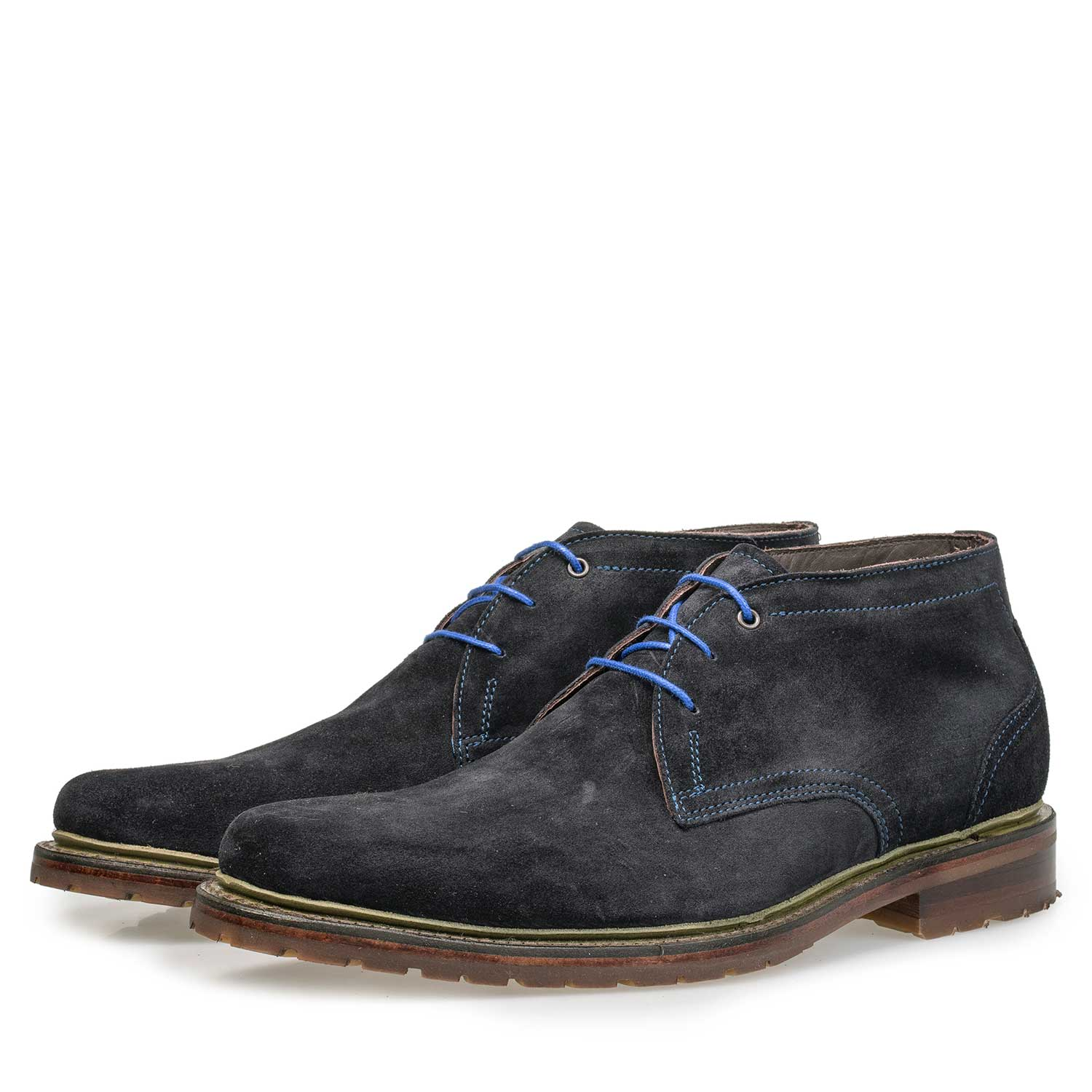 10449/00 - Dark blue suede leather lace boot