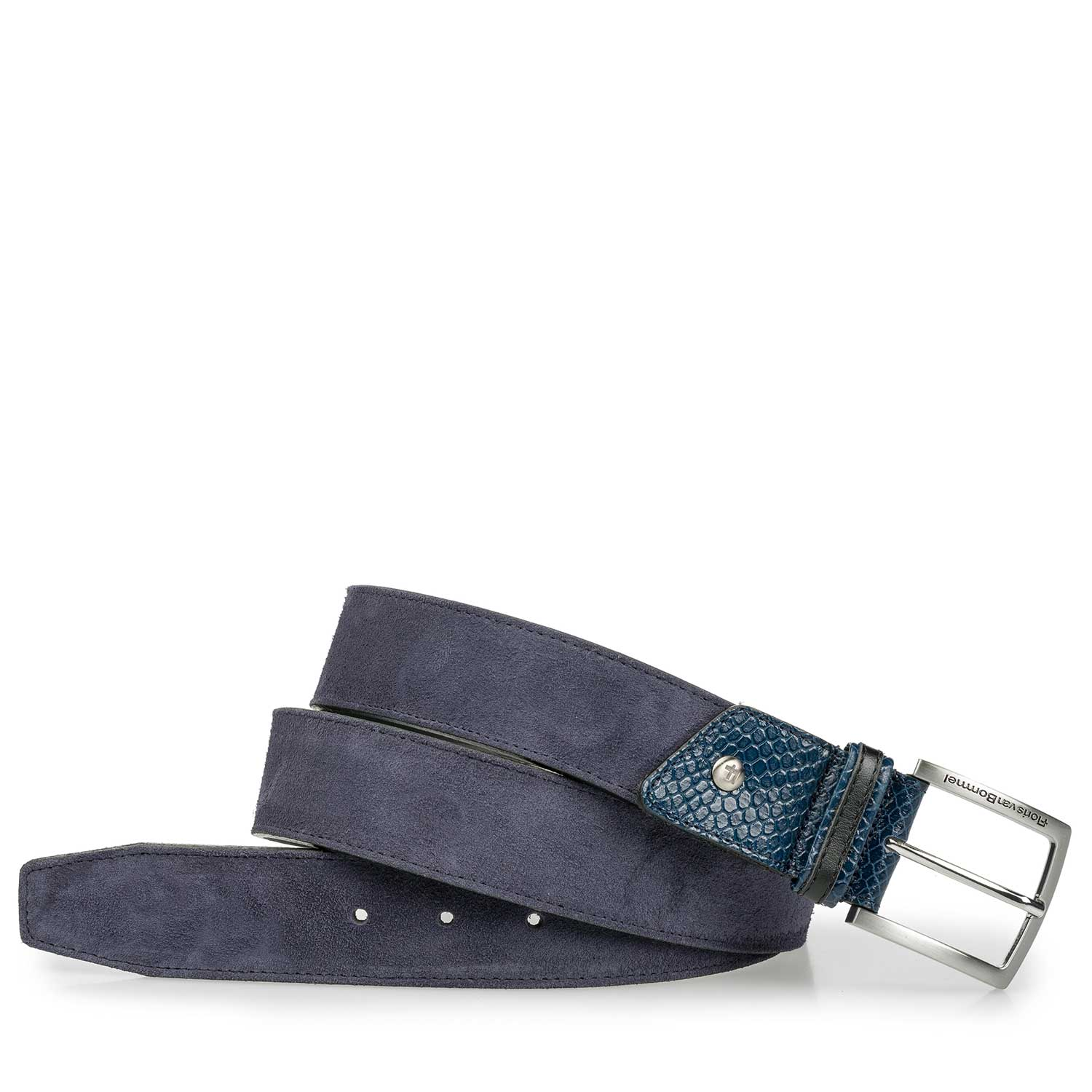 75193/06 - Nappa leather belt with blue suede leather accents