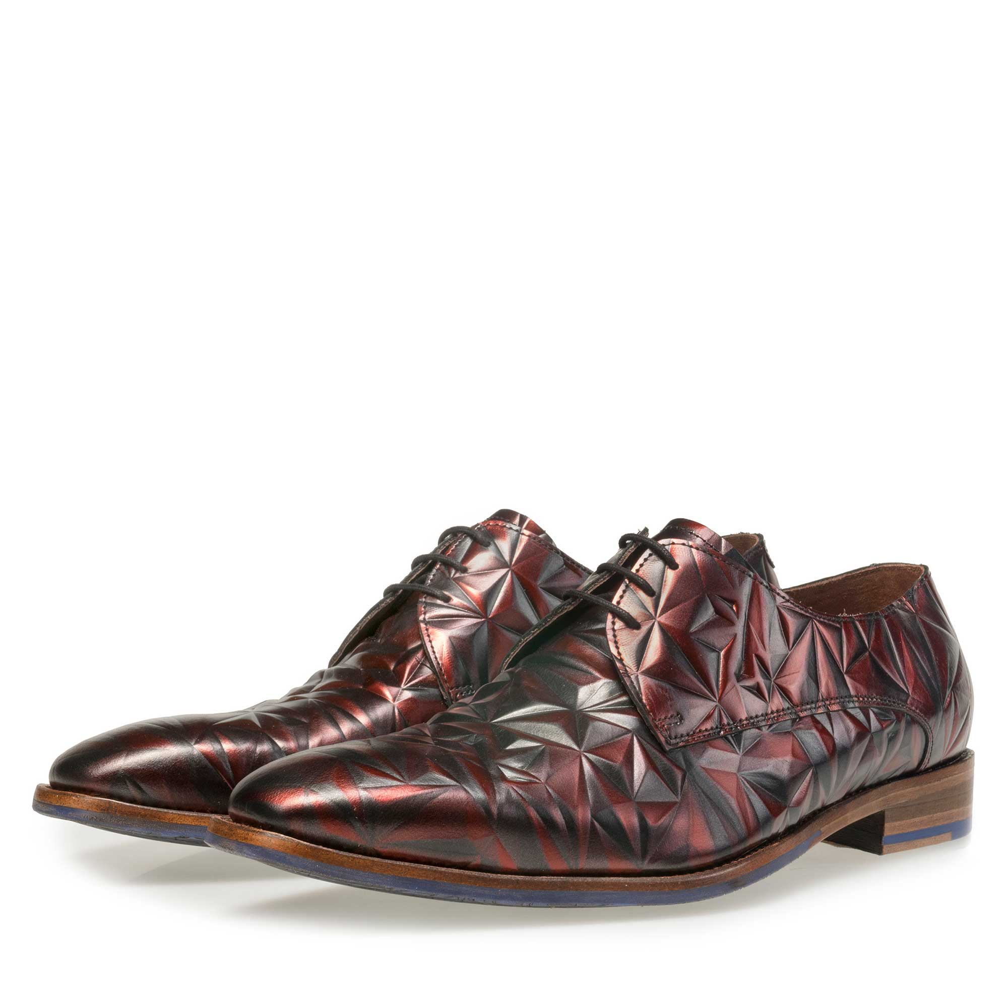 14237/01 - Floris van Bommel men's claret leather lace shoe finished with a black mother-of-pearl effect