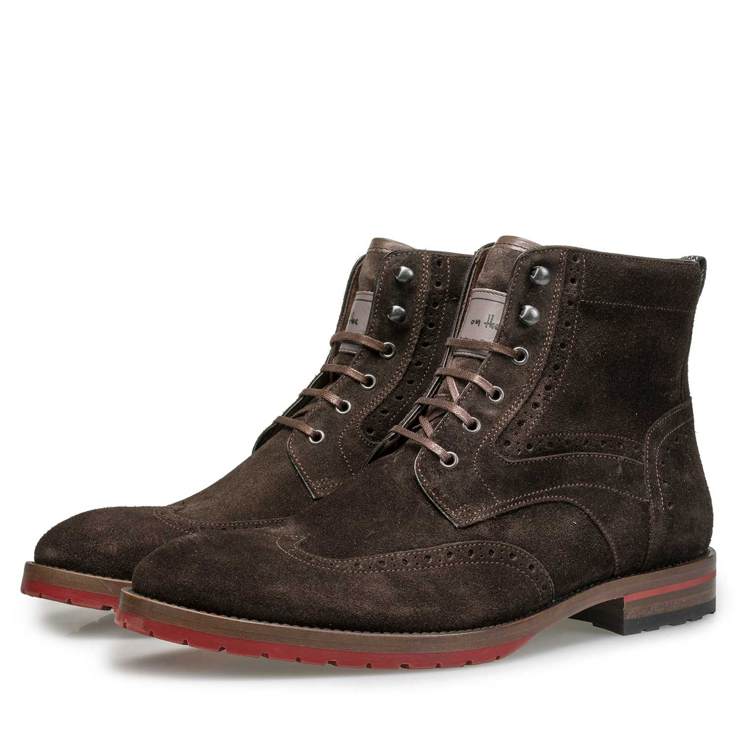 10295/06 - Brown suede leather brogue lace boot