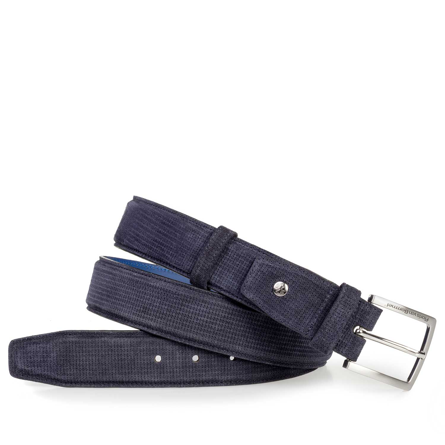 75181/09 - Blue suede leather belt with pattern