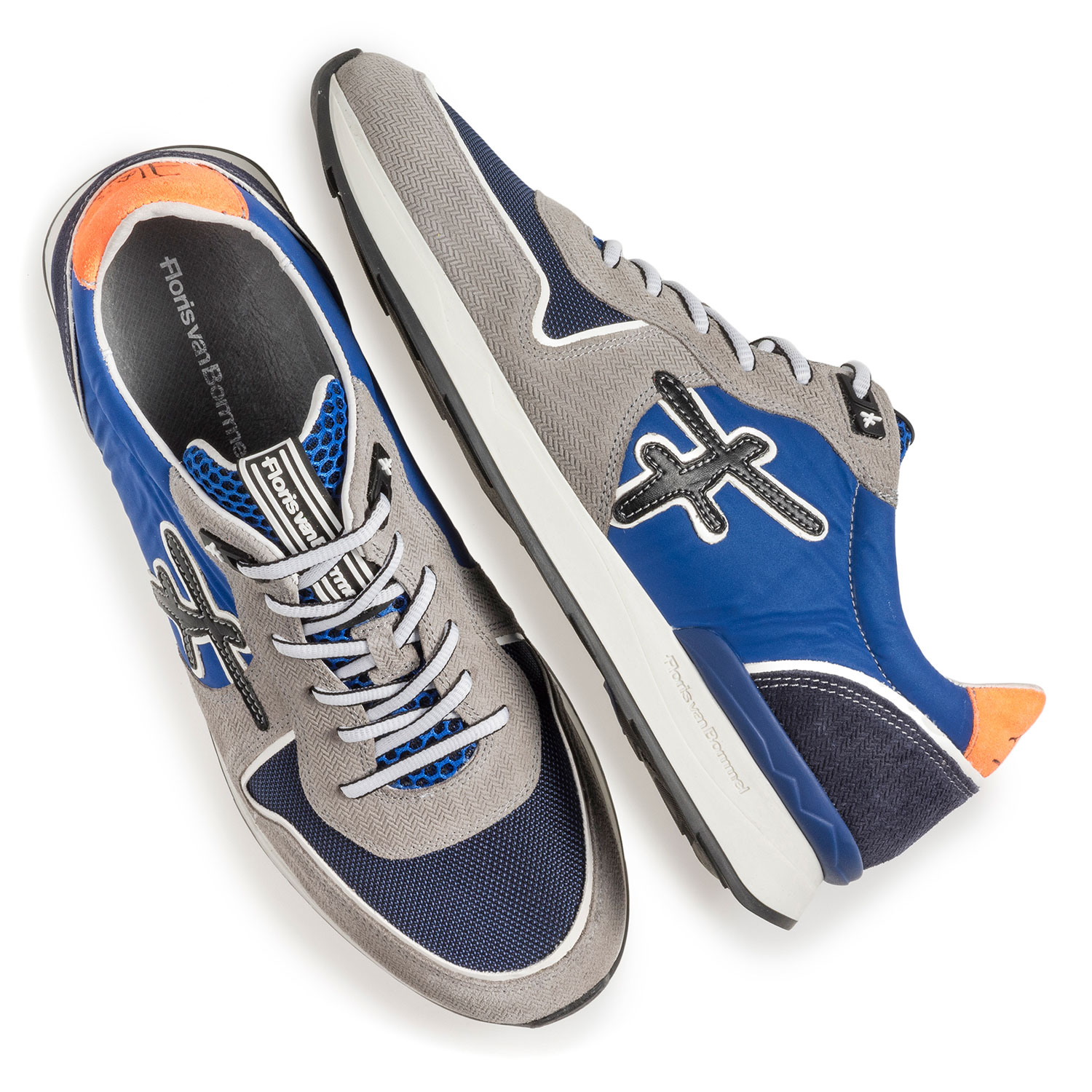 16346/05 - Grey and blue suede leather sneaker