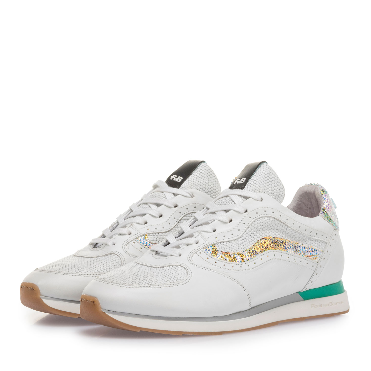85279/10 - White leather sneaker with metallic details