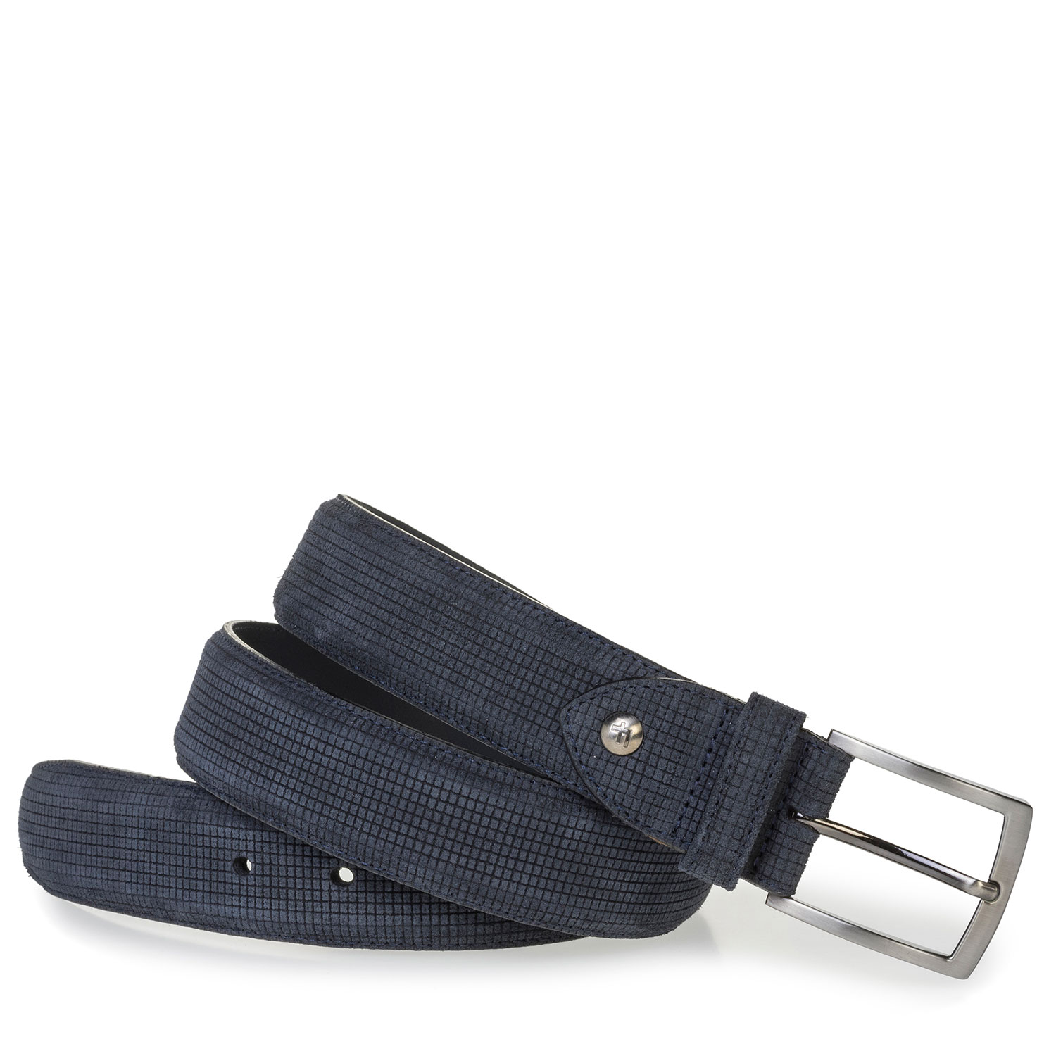 75201/96 - Dark blue suede leather belt with a print