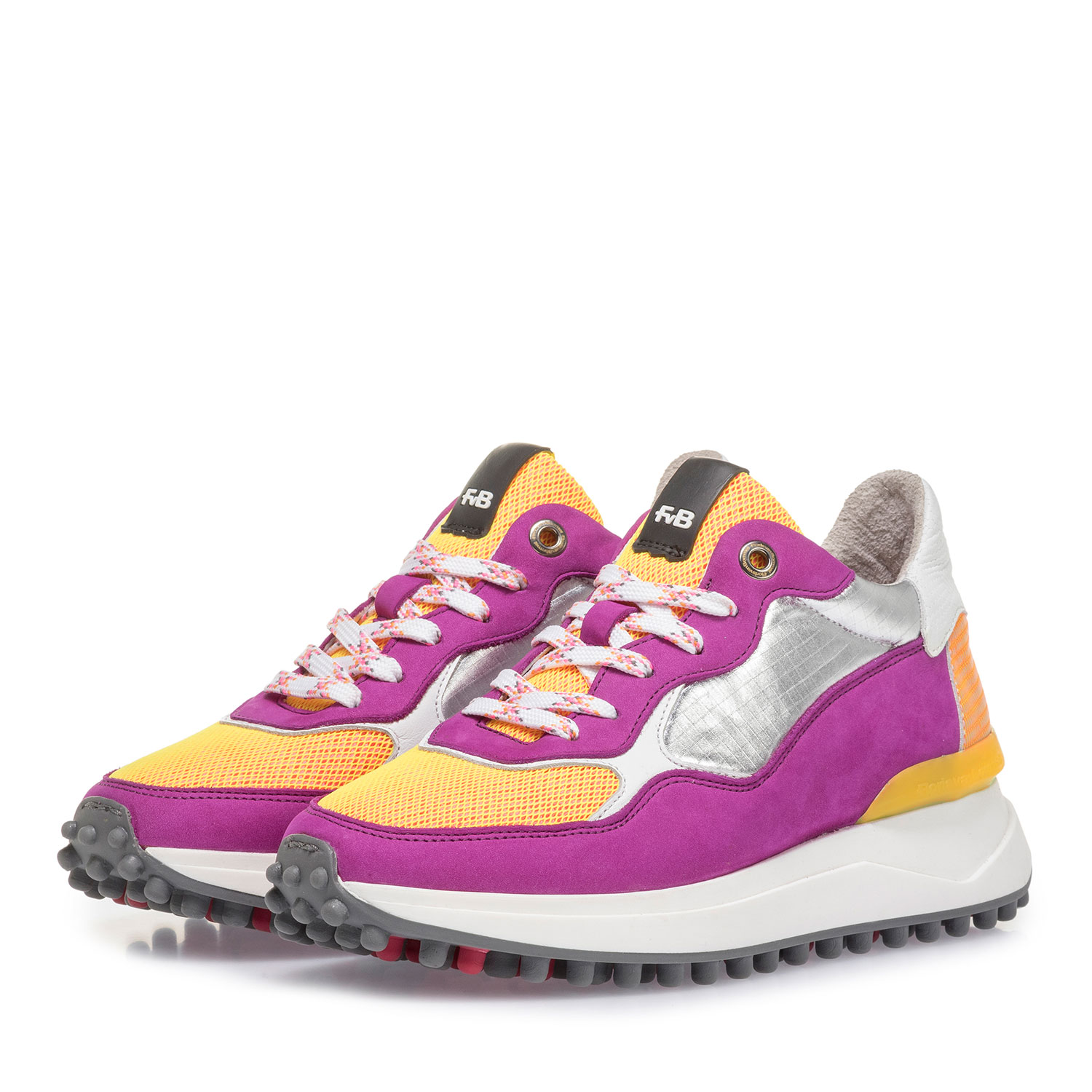 85307/02 - Violet nubuck leather sneaker with yellow details
