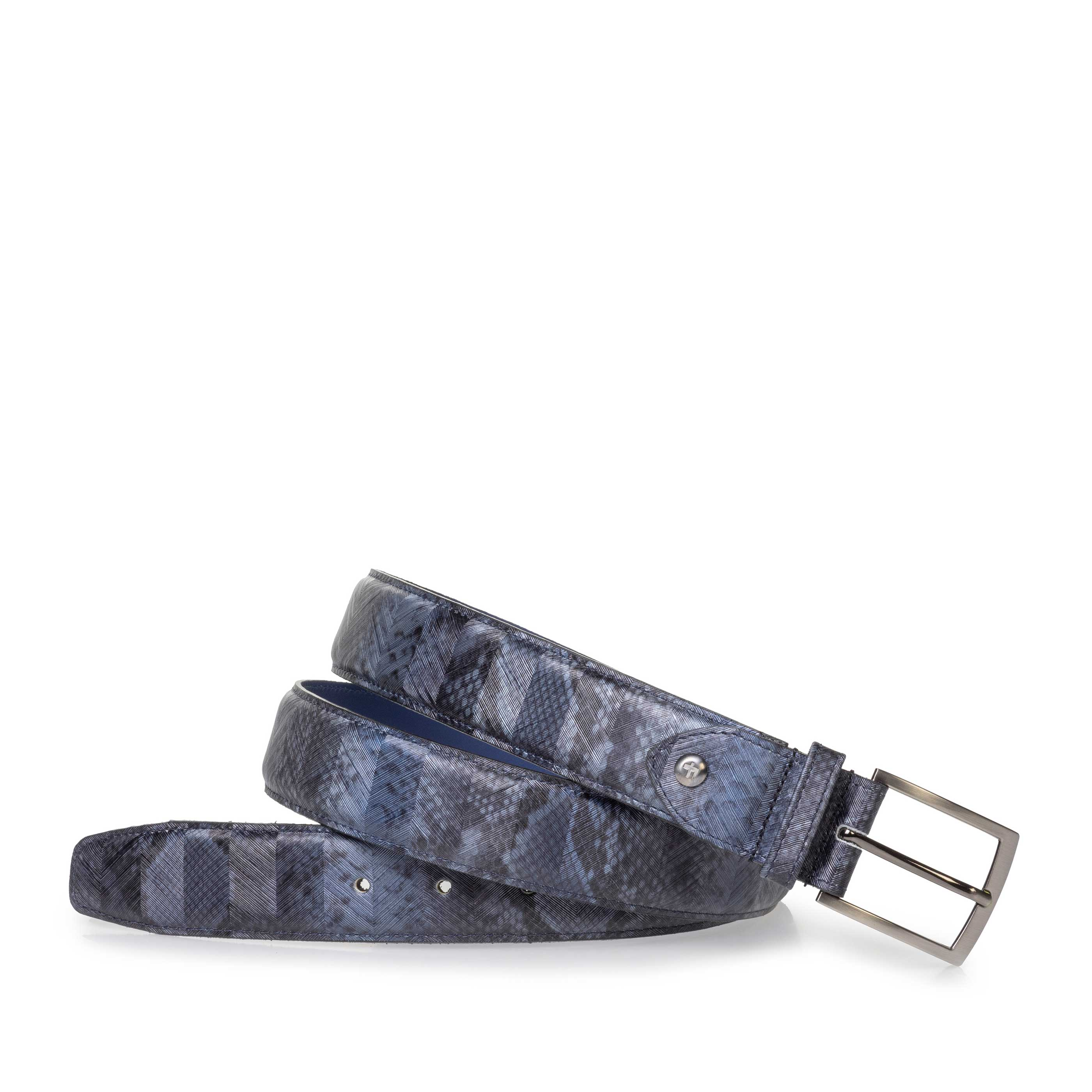 75201/89 - Grey patent leather belt with snake print